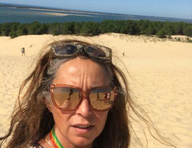 en visite en haut de la Dune du Pilat